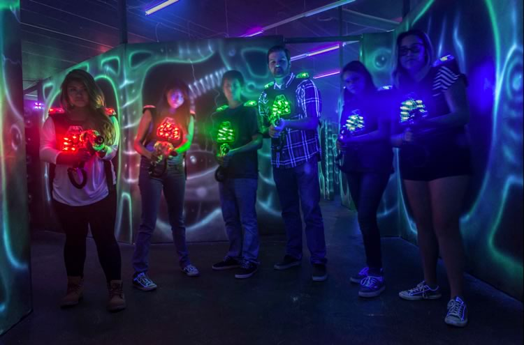laser tag players using laserblast equipment